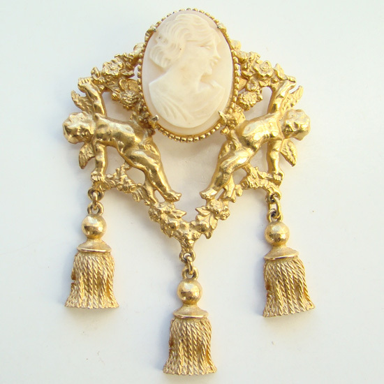 Vintage Cameo Brooch with Cupids Tassels Gold Tone Stunning