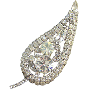 Juliana Clear Ice Rhinestone Large Leaf Brooch DeLizza Elster D & E