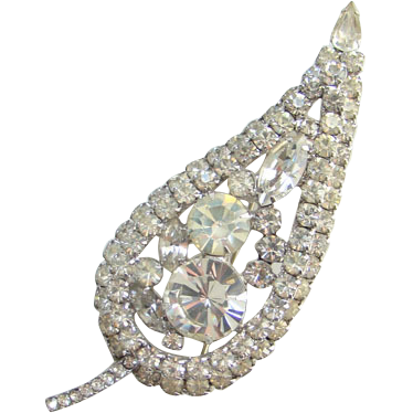 Juliana Designer Clear Ice Rhinestone Large Leaf Brooch DeLizza Elster D and  E