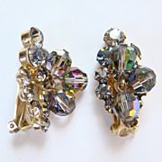 Juliana DeLizza Elster Clip Earrings Black Diamond Rhinestone AB Bead Dangles