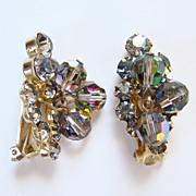 Juliana DeLizza Elster Clip Earrings Black Diamond Rhinestone AB Bead Dangles