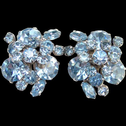 Juliana Powder Blue Rhinestone Clip Earrings Tiered Flower Spray DeLizza Elster