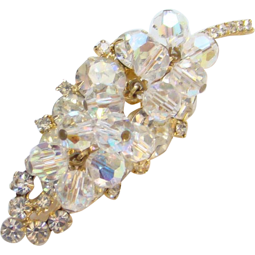 Juliana DeLizza Elster Rhinestone Leaf Brooch Clear Bead Dangles Book Piece