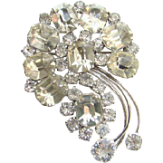 Vintage Kramer Sterling Silver Clear Rhinestone Stylized Floral Brooch Pin Emerald Cut Stones Signed