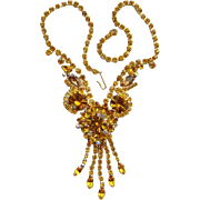 Juliana DeLizza Elster Amber Rhinestone Necklace with Dangles Fabulous