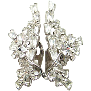 Vintage Clear Rhinestone Climber Tiered Earrings Wire Over Silvertone Costume Jewelry
