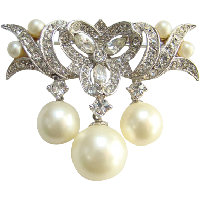Vintage Marvella Faux Pearl Dangle Brooch Pin Pave Clear Rhinestones Signed
