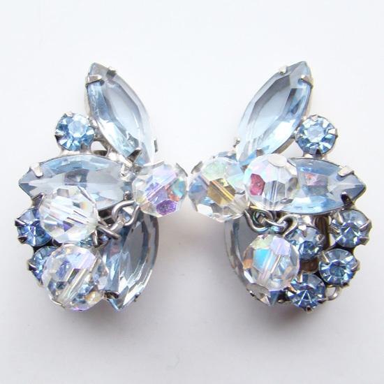 Juliana DeLizza Elster Clip Earrings Blue Rhinestone Crystal Bead Dangles