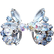 Juliana DeLizza Elster Clip Earrings Blue Rhinestone Crystal Bead Dangles