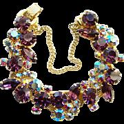 Juliana Amethyst Blue Aurora Borealis Rhinestone 5 Link Bracelet DeLizza Elster