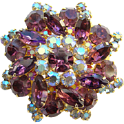 Juliana Amethyst Blue Aurora Borealis Rhinestone Snowflake Brooch DeLizza Elster