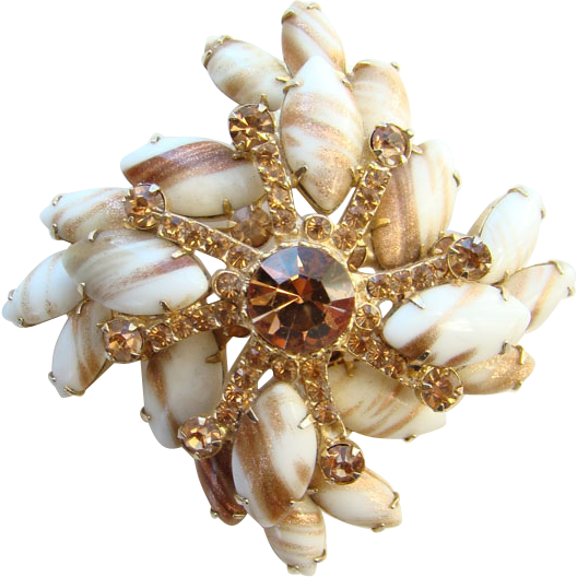 Juliana DeLizza Elster Topaz Rhinestone Snowflake Brooch Milk Glass Copper Fluss