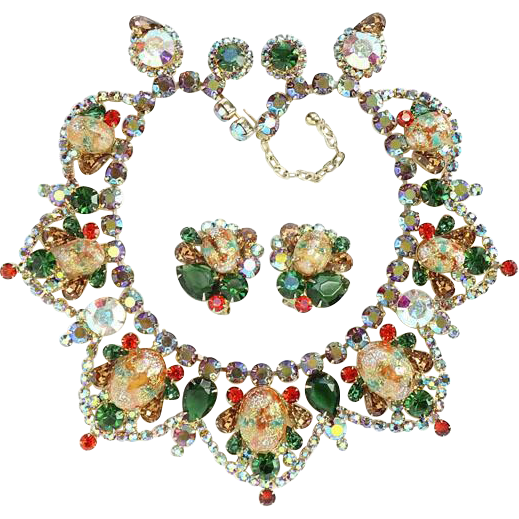Juliana DeLizza and Elster Easter Egg Rhinestone Collar Necklace Earrings Set with Coral Gold Splattered Stippled Cabochon Verified D&E