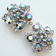 Juliana DeLizza Elster Huge Flower Spray Snowflake Rhinestone Clip Earrings