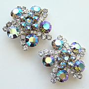 Juliana DeLizza Elster Huge Flower Spray Snowflake Rhinestone Clip Earrings