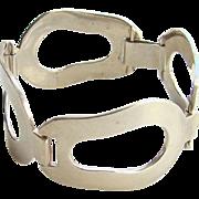 Vintage Modernist Mid Century Sterling Silver Link Bracelet Signed Thomae Attleboro MA