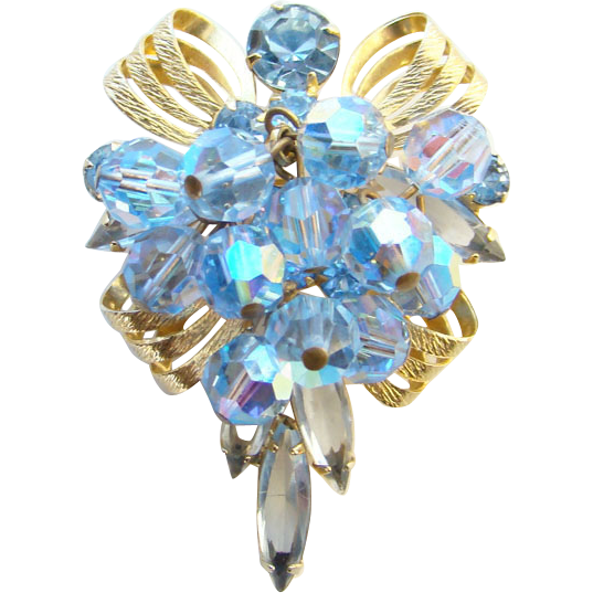 1965 Juliana DeLizza Elster Rhinestone Pendant Brooch Blue Bead Gold Tone Ribbon Castings