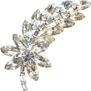 Juliana DeLizza and Elster Clear Rhinestone Leaf and Floral Brooch Pin Sparkly