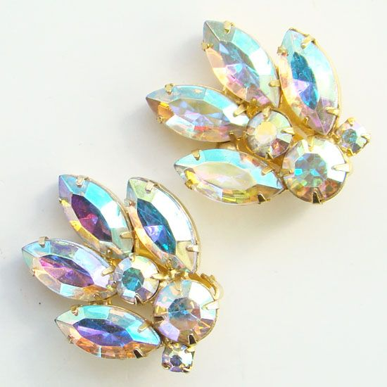 Vintage Rhinestone Clip Earrings Bright Pink Blue Aurora Borealis
