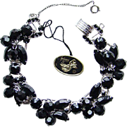 Juliana DeLizza & Elster Bracelet Black Bead and Rhinestone with Hang Tag