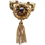 Vintage Designer Pegasus Coro Brooch Pin Amethyst Rhinestone with Tassel Signed