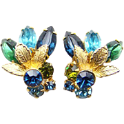 Vintage Rhinestone Clip Climber Earrings with Metal Accents Blue Green