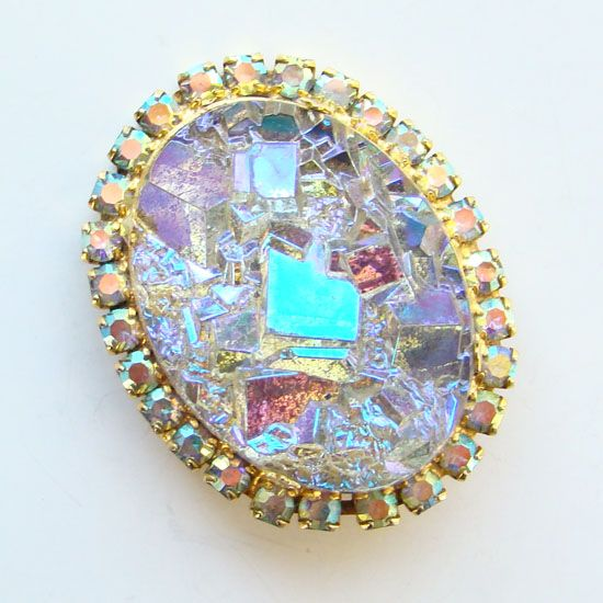 Juliana DeLizza & Elster Pendant Brooch Oval Geode Crystal Quartz Book Piece
