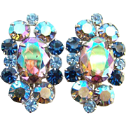 Juliana DeLizza & Elster Earrings AB Heliotrope Rhinestone Book Piece