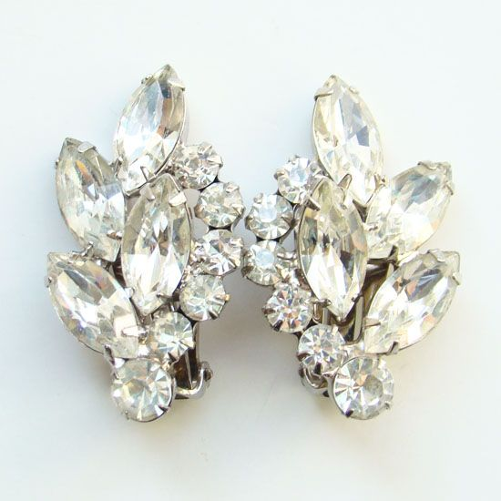 Juliana DeLizza & Elster Clip Earrings Clear Rhinestone
