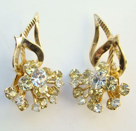 1961 Sarah Coventry Monte Carlo Climber Clip Earrings Signed
