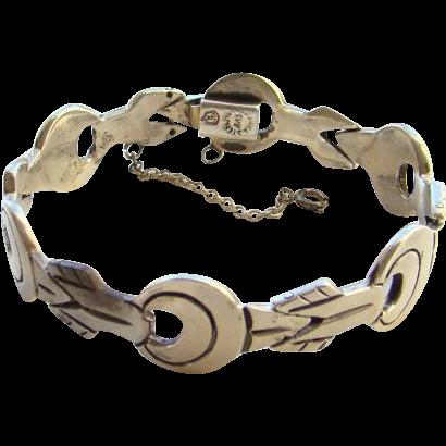Vintage Taxco Mexico Link Bracelet Sterling Silver Eagle 3 Signed AAB