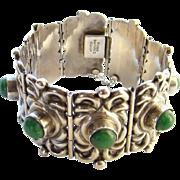 C1940 Horacio de la Parra Huge Mexico Silver Link Bracelet Green Agate Signed