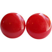 Vintage Pair Red Bakelite Screw Back Button Earrings