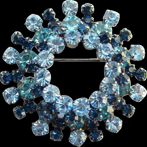 Juliana DeLizza & Elster Brooch Pin Sapphire Blue Rhinestone Black Plated