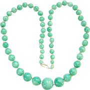 Vintage Graduated Green Peking Glass Bead Necklace Restrung Knotted