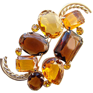 Vintage Marvella Rhinestone Pin Brooch Massive Amber Topaz Gold Tone Signed