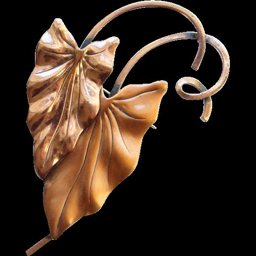 Vintage Renoir Solid Copper Stylized Leaf Brooch Signed