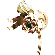 C1930-40 Harry Iskin Floral Spray Brooch 1/20 10K Gold Filled Signed H I
