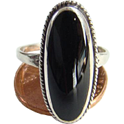 Vintage Black Onyx and Sterling Silver Ring Size 6.5