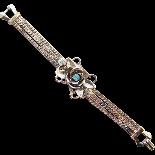 Pre 1955 Pegasus Coro Floral Bracelet Rhinestone Rhodium Plated Silver Tone