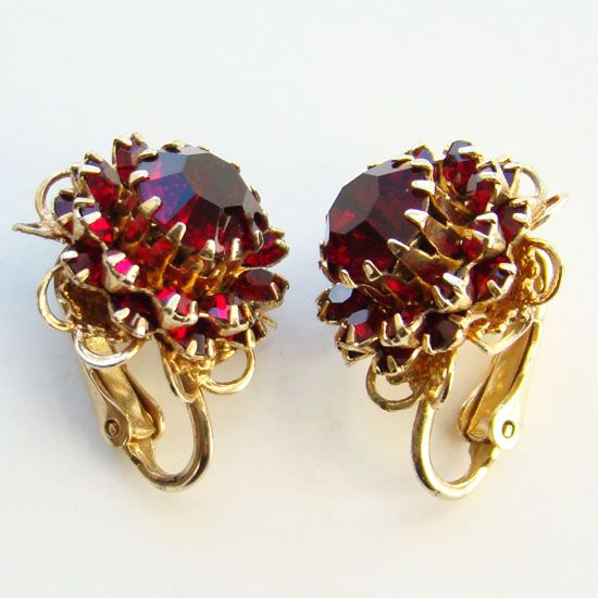 1966 Sarah Coventry Deep Burgundy Clip Earrings Signed