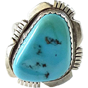 Vintage Navajo Ring Size 6.25 to 6.5 Turquoise and Sterling Silver Southwestern