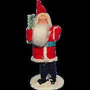 Small Antique Japan Christmas Santa Claus St Nicholas Felt Suit Mica Base 4.25in