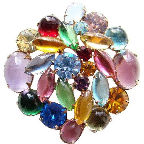 Vintage Large Fruit Salad Brooch Cabochon Rhinestone Gold Tone Unsigned