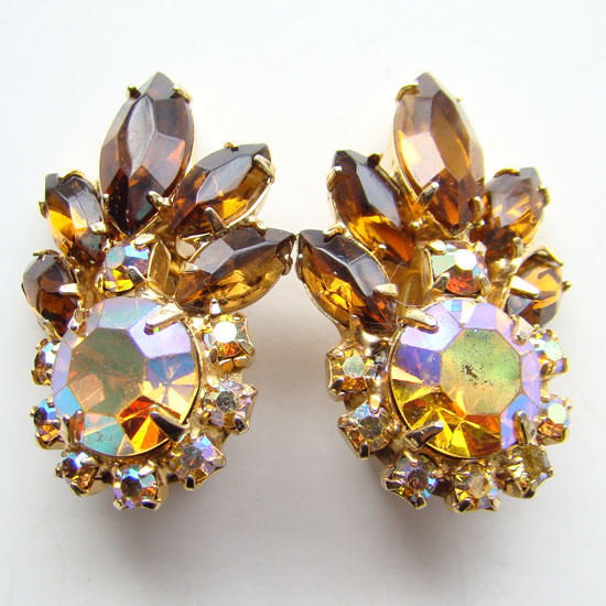 Juliana DeLizza and Elster Rhinestone Earrings Topaz Aurora Borealis