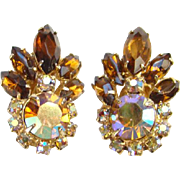 Juliana DeLizza and Elster Rhinestone Clip Earrings Topaz Aurora Borealis Rhinestones