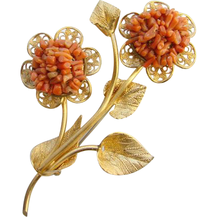 Vintage Faux Branch Coral Floral Flower Brooch Gold Tone Unsigned Beautiful