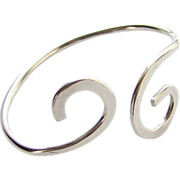 Vintage Modernist Studio Artist Bypass Bracelet Sterling Silver