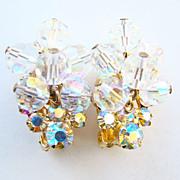 Juliana DeLizza & Elster Clip Earrings AB Rhinestone Bead Dangle Gold Tone