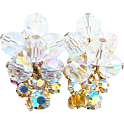 Juliana DeLizza & Elster Clip Earrings AB Rhinestone Bead Dangle Gold Tone